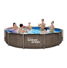 Polygroup Summer Waves®, 3,66x0,91 m Rattan hatású fémvázas medence szett, létra, fedő (SW RATMF366x91FPI)