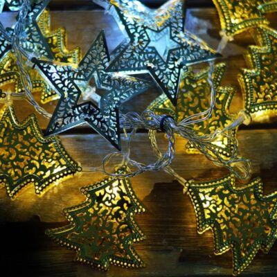 DekorTrend Ezeregyéjszaka fényfüggöny, átlátszó kábel, fenyő és csillag dísz, 64 LED, 1,2x1,2 méter (KDE 106)