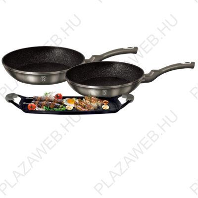 BERLINGER HAUS BH-1670  Serpenyő/ grill plate set, 3+2 részes, Carbon Metallic Line