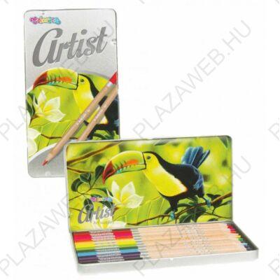 Színes ceruzakészlet 12db-os, fémdobozos, Colorino Artist