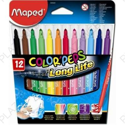 Filctoll készlet 12db-os, 1-3,6 mm, kimosható, Maped Color Peps