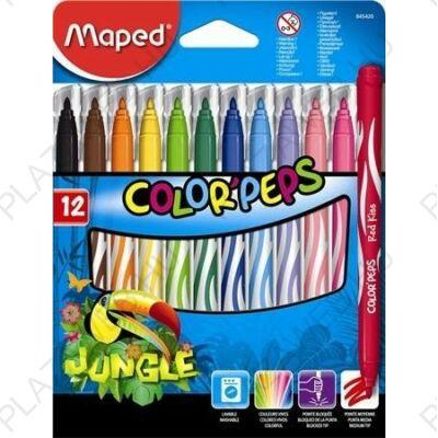 Filctoll készlet 12db-os, 2,8 mm, kimosható, Maped Color Peps Jungle