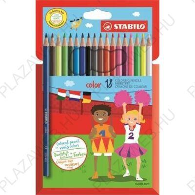 Színes ceruzakészlet 18db-os, hatszögletű, Stabilo Color